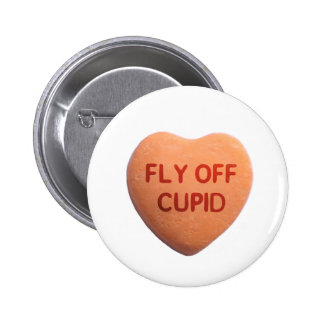 Fly Off Cupid Orange Candy Heart Buttons