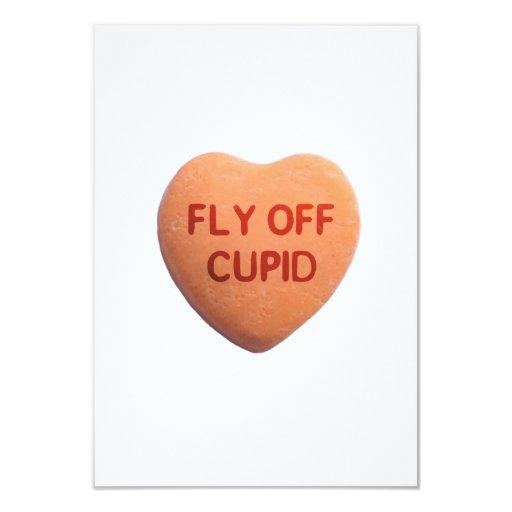 "Fly Off Cupid Orange Candy Heart 3.5"" X 5"" Invitation Card"