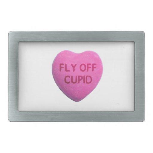 Fly Off Cupid Pink Candy Heart Rectangular Belt Buckles