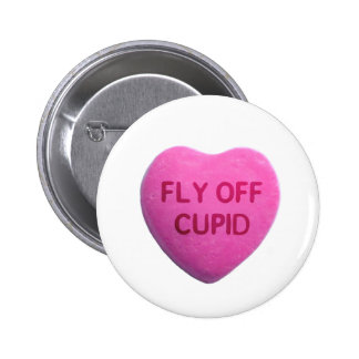 Fly Off Cupid Pink Candy Heart Button