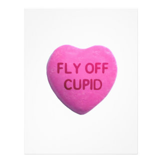 Fly Off Cupid Pink Candy Heart Personalized Flyer