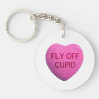 Fly Off Cupid Pink Candy Heart Keychain