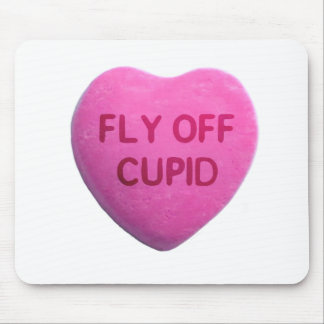 Fly Off Cupid Pink Candy Heart Mouse Pad