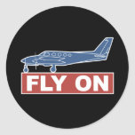 Fly On - Airplane Classic Round Sticker