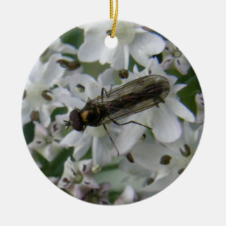 Fly on Putchki Blossoms Ceramic Ornament