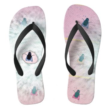 Beach Themed Fly On The Wall Collection:   Pop Fly Flip Flops