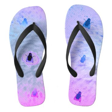 Beach Themed Fly On The Wall Collection:   Pop Fly Foot Flip Flops