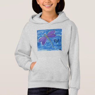 FLY! purple dragonfly on Blue Hoodie