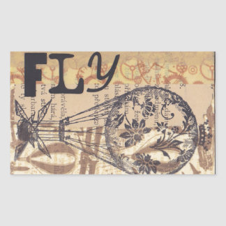 fly rectangular sticker