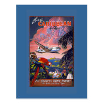 Fly the Caribbean Vintage Travel Poster on Cards