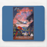 Fly the Caribbean Vintage Travel Poster on Cards Mouse Pads