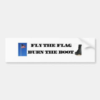 """Fly The Flag Burn The Boot 11"""" x 3"""" Bumper Sticker"""