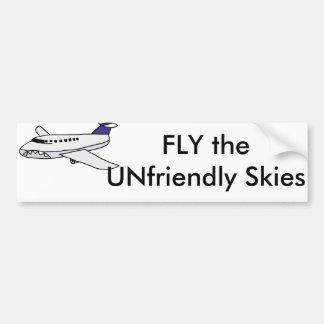 Fly the Unfriendly Skies Cartoon Bumper Sticker