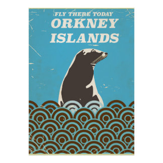Fly there today Orkney Islands vintage poster