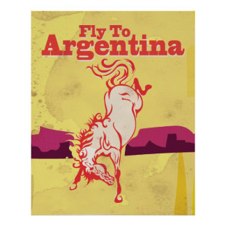Fly To Argentina vintage travel poster
