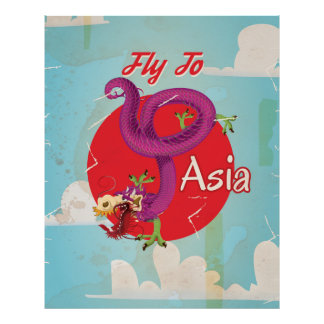 Fly to Asia Vintage Travel Poster