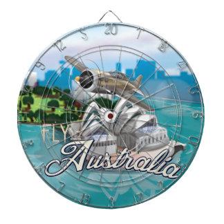 Fly To Australia Travel Illustration Dartboard With Darts