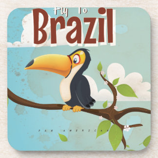 Fly to Brazil vintage Vacation Poster Coaster