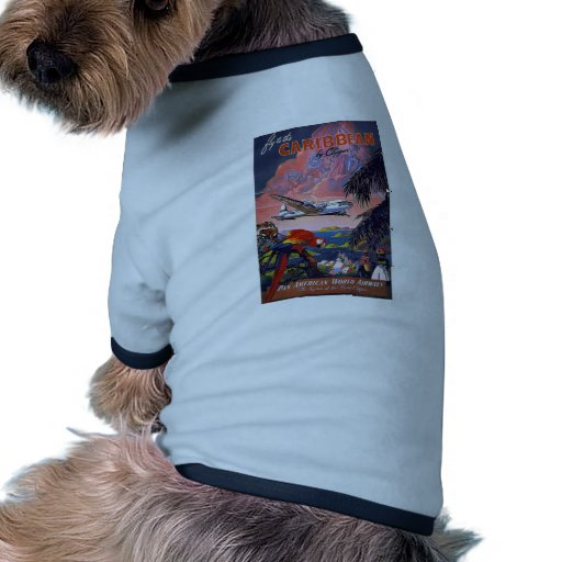 Fly To Caribbean Vintage Doggie Tshirt
