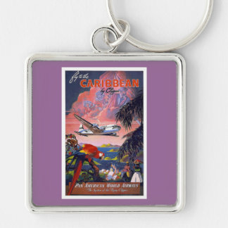 Fly To Caribbean Vintage Silver-Colored Square Keychain