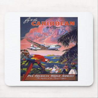 Fly To Caribbean Vintage Mousepad