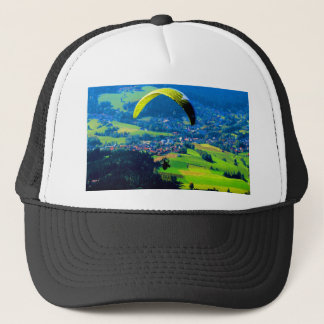 fly to freedom  paragliding sport mountains wind trucker hat