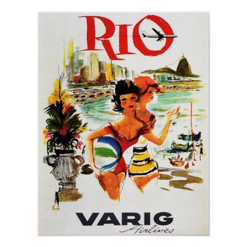 Fly to RIO BRAZIL Varig Airlines Vintage Travel