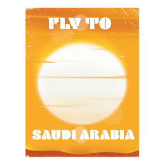 Fly to Saudi Arabia vintage travel poster Postcard