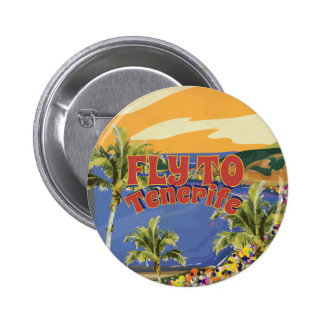 Fly To Tenerife Vintage Travel Poster Pinback Button