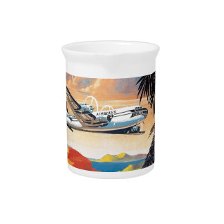 Fly to the caribbean vintage poster 50s beverage pitchers