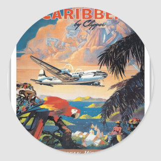 Fly to the caribbean vintage poster 50s classic round sticker