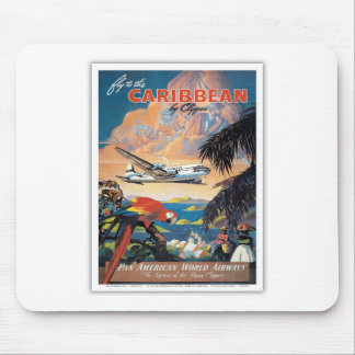 Fly to the caribbean vintage poster 50s mouse pad