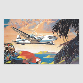 Fly to the caribbean vintage poster 50s rectangular sticker