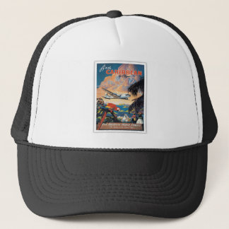 Fly to the caribbean vintage poster 50s trucker hat