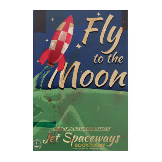 Fly to the moon vintage travel poster acrylic wall art