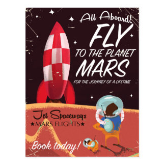 Fly to the Planet Mars! Vintage travel poster Postcard