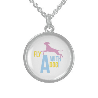Fly With a Dog Round Pendant Necklace