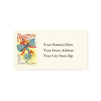 Fly With Your Beau Vintage Halloween Address Label