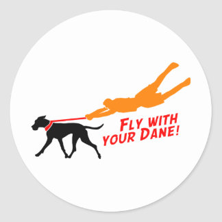Fly With Your Dane Classic Round Sticker
