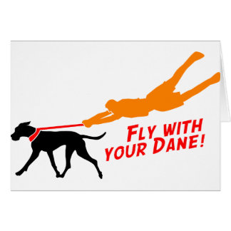 Fly With Your Dane Greeting Cards
