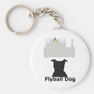Flyball Dog Basic Round Button Keychain