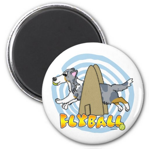 Flyball Sheltie 2 Inch Round Magnet
