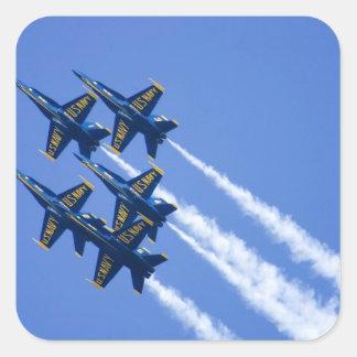 Flyby de los ángeles azules durante semana de 2006 calcomanía cuadradas