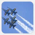 Flyby de los ángeles azules durante semana de 2006 pegatina cuadrada
