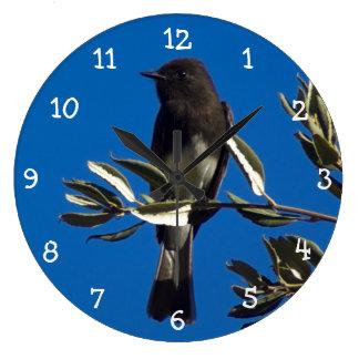 Flycatcher encaramado reloj redondo grande