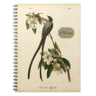 Flycatcher floral del pájaro del vintage libreta