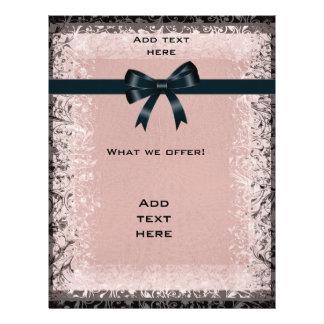 Flyer Antique Old Paper Pink Black Bows Template
