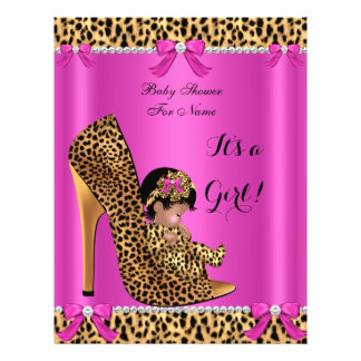 Flyer Baby Shower Baby Cute Girl Leopard Hot Pink