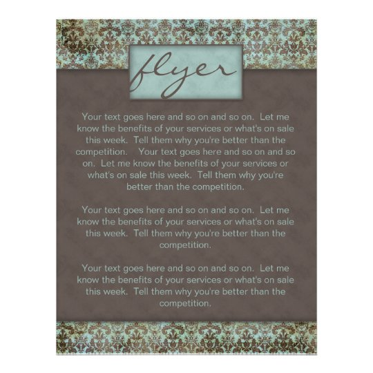 Flyer Damask Turquoise Blue Brown 5