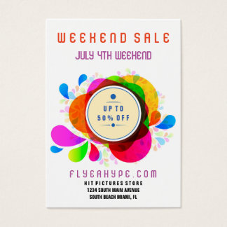 Flyer Hype Badge Store Sale Colorful Vertical V5 Business Card